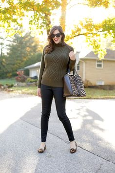 I love those thick knitted sweaters. Looks cute here with the leopard flats.