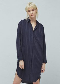 Striped cotton shirt | MANGO