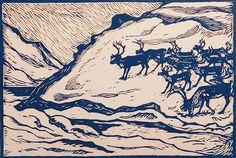 reindeer, John Savio, woodcut Winter Illustration, Snow Scenes, Wood Engraving, Woodblock Print, Printmaking, Monochrome, Screen Printing, Deer, Art Prints