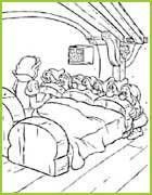 Les Sept nains découvrent Blanche-Neige dans leur lit