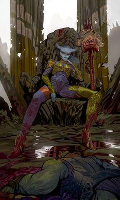 ArtStation - Khali the Head Hunter, Andrea De Dominicis Character Concept, Character Art, Concept Art, Character Design, Character Portraits, Fantasy Rpg, Dark Fantasy Art, Dnd Backgrounds, Head Hunter