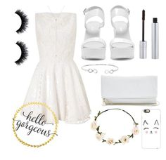 """""""white lady"""" by mikhaliova ❤ liked on Polyvore featuring Lipsy, Nly Shoes, GUESS, Ally Fashion, T. LeClerc and Casetify"""