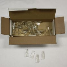 """Box of 34 Clear 2-1/2"""" Coffin Stones, chips and nicks, Artist Lot!"""