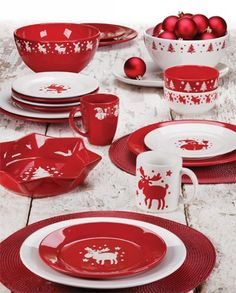 57 Beautiful Christmas Dinnerware Sets Waechtersbach Dinnerware featuring Red Christmas Square Mugs and Bold Solid Color Plates and Platters & Christmas table decoration | Christmas time | Pinterest | Table ...