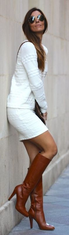 White Structured Skirt And Top Suit