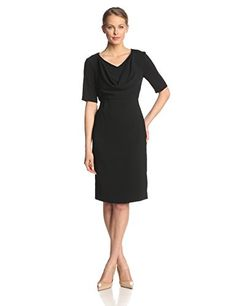 Anne Klein Womens Short Sleeve Cowl Neck Sheath Dress Black 8 *** To view further for this item, visit the image link.(This is an Amazon affiliate link)