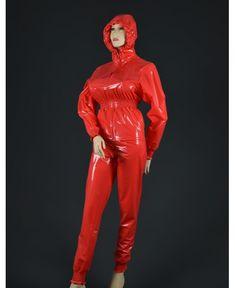 "Plastik-Anzug ""Palina"" Pvc Hose, Vinyl Clothing, Rain Wear, Perfect Woman, Overalls, Leather Pants, Windbreaker, Raincoat, Clothes"