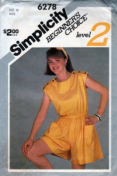 ed60d13547b Simplicity 6278 Vintage Sewing Pattern Misses  Pull-On Romper FF