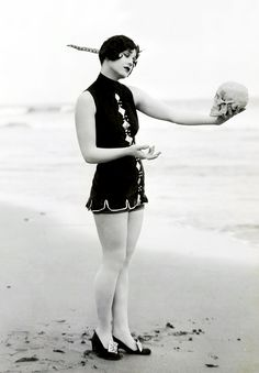 Heels on the beach...Very practical!  Bathing beauty Marion McDonald photographed by George Cannons c. 1920's.