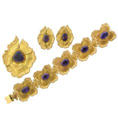 Buccellati 18k Gold Amethyst Bracelet Earrings Pin Pendant Set