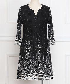 Love this Black & White Arabesque Plissé-Pleat Henley Dress - Plus on #zulily! #zulilyfinds