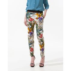 Printed Trousers With Contrasting Waist via Polyvore
