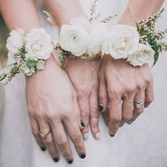 A wrist corsage is a lovely idea for your bridesmaids or as an alternative to a traditional bouquet Which type of flowers will you be having?