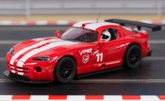 Flyslot Dodge Viper GTRS in bright red with white racing stripes. This is a Lightweight Slot Car with lexan interior. Real Racing, Dodge Viper, Racing Stripes, Slot Cars, Plymouth, Dreams, Vehicles, Shop, Slot Car Tracks