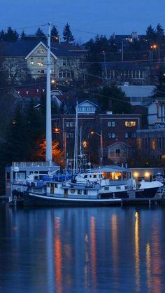 Lake Union, Dusk, Seattle, Washington, United States,