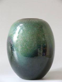 Vintage 60's Christiane Staigervolp groene gespikkelde porseleinen vaas - Interieur - Vintage