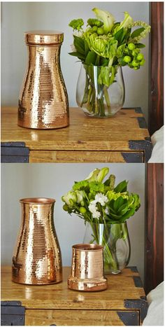 Welcome your guests this holiday season with a beautiful bedside table vignette.  Our copper carafe with glass, as well as one of our recycled glass tumblers as a vase make a lovely combination.