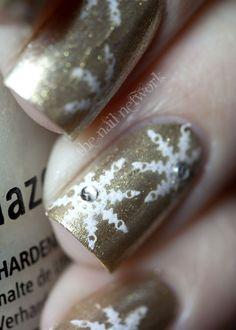 Gold and White Snowflake Nails   - Christmas Nail Art