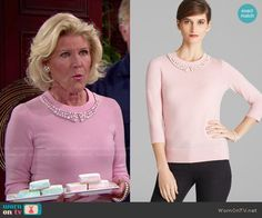 Pam's pink beaded collar sweater on The Bold and the Beautiful. Outfit Details: http://wornontv.net/53234/ #TheBoldandtheBeautiful