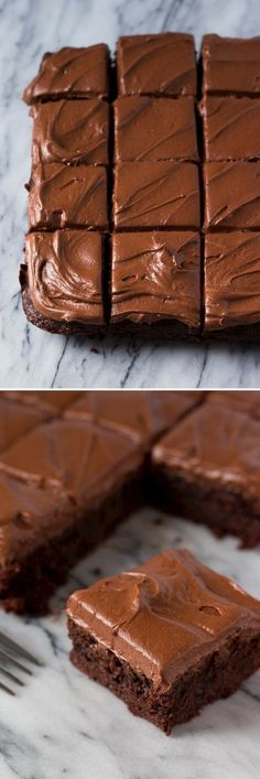 So fudgy, so delicious & slathered with a thick layer of cream cheese chocolate frosting