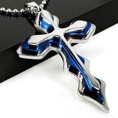 メルカリ商品: ネックレス クロス 十字架 ステンレススチール  ブルー&シルバー #メルカリ