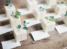 tied soaps with greenery