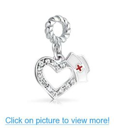 Valentines Day Gifts Bling Jewelry 925 Silver Nurse Hat Heart Charm Fits Pandora