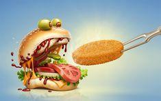 Download wallpapers hamburger, 4k, fastfood, art, creative, cutlet