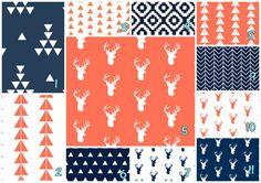 Coral Navy deer Heads woodland Custom Modern Crib by wisefingers