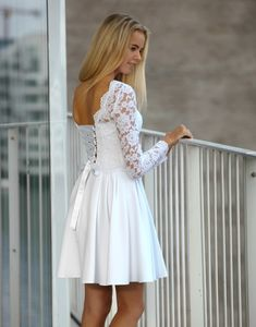 54 Popular Little White Dress Ideas Short Semi Formal Dresses, Short Dresses, Short Reception Dresses, Wedding Reception, Pretty Prom Dresses, Cute Dresses, Confirmation Dresses White, Dama Dresses, Country Wedding Dresses