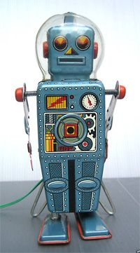 Domed Easel Back Robot (Linemar, late 1950s): I adore his little domed glass helmet, but...why would a robot need a helmet? Ah, well, it looks fab and that's the main thing.