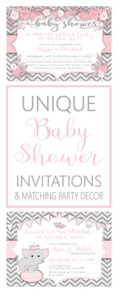 Baby Shower Invitations for Girls ~ Girl Baby Shower Invitations - Unique Baby Shower Invites Girl - Printable Baby Shower Invitation for Girl