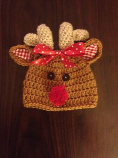 Crochet Reindeer Hat  @Jenni Juntunen Littiken Grenier -- I think Laila needs this!