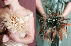 Non-Floral Wedding Bouquets: Using Feathers Maybe put a turkey feather in?