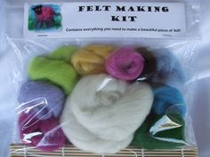 Contains everything you need to make 2 pieces of felt. Use your felt as pictures, to give as gifts or to make into small items such as a phone case,doll's blanket, a purse or a needle case. Needle Case, Arts And Crafts, Felt, Colours, Crafty, Dolls, How To Make, Heaven, Gifts