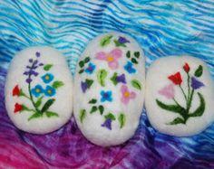 Felted Soap Summer Garden Set of Three, Handmade Summer Flowers