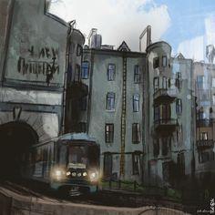 Мой рисунок По просьбам подписчиков, ещё одна работа в городской тематике.. как вам?  город, двор, поезд, рисунок, моё, творчество