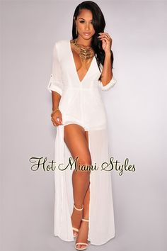 White V Neck Chiffon Maxi Romper Womens clothing clothes hot miami styles hotmiamistyles hotmiamistyles.com sexy club wear evening clubwear cocktail party kim kardashian dresses bandage body con bodycon herve leger