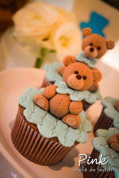 Trendy Ideas For Cupcakes Baby Shower Bebe Fondant Toppers Torta Baby Shower, Baby Shower Cupcakes For Boy, Cupcakes For Boys, Fondant Cupcakes, Cupcake Cakes, Cup Cakes, Ladybug Cupcakes, Kitty Cupcakes, Snowman Cupcakes