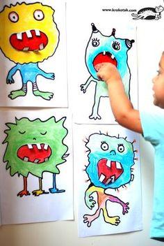 Monster games art with children Art Activities For Kids, Art For Kids, Crafts For Kids, Theme Halloween, Halloween Crafts, Monster Kindergarten, Art Plastique Halloween, Diy Paper Christmas Tree, Monster Art