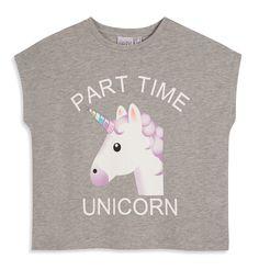 UNICORN EMOJI Ladies T Shirt Primark PART TIME UNICORN Tee Top