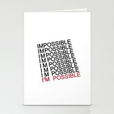 IM POSSIBLE Stationery Cards by studiomarshallarts - $12.00