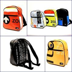 GRIMAL2 bolsos reciclados Recycled handbag company .. Tarpaulin, Banner, Backpacks, Pockets, Purses, Design, Duffel Bag, Recycled Materials, Recycling