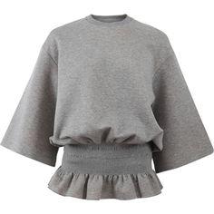 Stella Mccartney Elastic Waist Sweatshirt ($575) ❤ liked on Polyvore featuring tops, hoodies, sweatshirts, shirts, sweaters, gray sweatshirt, elastic waist shirt, three quarter sleeve shirts, grey pullover and grey pullover sweatshirt