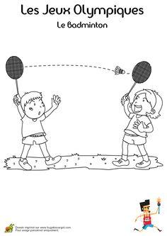 Dessin à colorier de deux enfants se passant le volant pendant une partie de Badminton