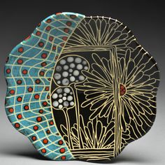 Marcy Neiditz - Plate - Sgrafitto - Cone 5/6 Pottery Plates, Glazes For Pottery, Ceramic Pottery, Pottery Art, Sgraffito, Ceramic Tableware, Ceramic Clay, Pottery Painting, Ceramic Painting