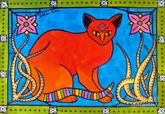 cat, flower, gold, cats, colorful, bright, childroom, kidsroom, art for children, pets,pet, feline, blue, green, red, pink, frame, floral, ornamental, organic, decorative, animals, mystic, art nouveau, india, indian, lilies, lily, bindi, forehead sign, spiritual, third eye, feline, beauty, enhancement, demon, evil, luck, gorgeous, cat art, red cat,  dora hathazi mendes, hungarian, hungary, portugal, portuguese, birthday present, painting, original, unique,  catart, catlovers, redcat,