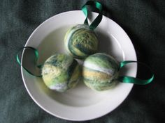 Felted ornament shades of green set of 3 by KatKeRosCorner on Etsy, $10.00