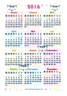 FREE printable 2016 calendar | Kostenlos ausdruckbarer Kalender 2016 Deutsch (there is a englisch version too!)