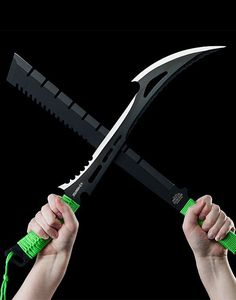 Z-Hunter ZB-020 Zombie Killer Machete Fixed Knife Blade, Two-Tone Full Tang Blade, Green Cord-Wrapped Handle, 23-34-Inch Overall